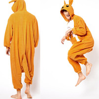costumes d'animaux kangourous achat en gros de-Cartoon Animal Yellow Kangaroo Adult LOnesies Onesie Pyjamas Kigurumi Jumpsuit Hoodies Vêtements de nuit pour adultes Bienvenue Ordre de gros