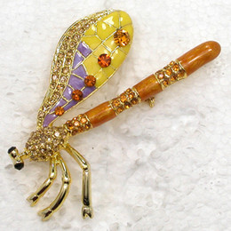 Wholesale Asian Dragonfly - Wholesale Topaz Crystal rhinestone Enameling Dragonfly Brooches Fashion Costume Pin Brooch Jewelry gift C996