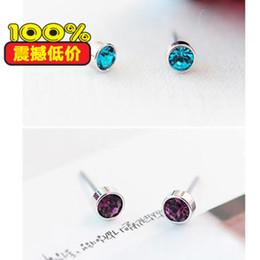 Edging Earrings Canada - Earring3130 Sideng jewelry wholesale silver edge wild shiny little crystal earrings multicolor optional