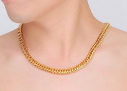 Wholesale 14kt Yellow Gold Necklace - New Luxury Men's Gift Jewelry 14KT Yellow Gold filled Top Flat Chain Link Heavy men's necklace