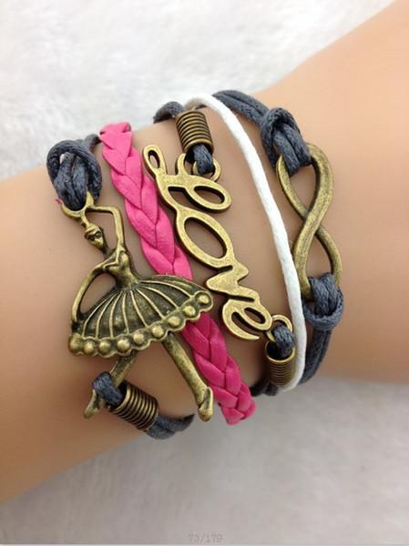 Infinity bracelets Love & Ballerina Bracelet in Bronze, Ballet Dancer - Grey Wax Cords and Hot Pink Leather Braid jewelry hy1030