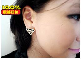 Wholesale Chandelier Logo - Earring3224 Korean version of flash diamond shape earrings golden triangle geometry S word superman logo earrings jewelry new