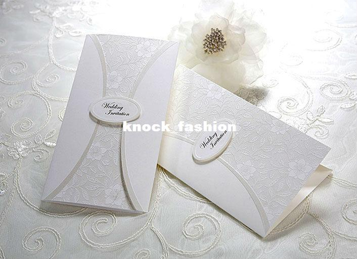Embossed Card For Wedding Invitations: Vintage Floral Embossed Tri Fold Wedding Invitation