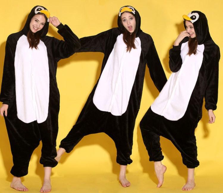 Cartoon Tier Schwarz Pinguin Erwachsene lOnesies Onesie Pyjamas Kigurumi Overall Hoodies Nachtwäsche Für Erwachsene Willkommen Großhandel Bestellung
