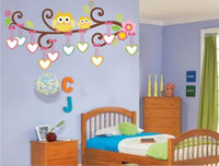 Wholesale Free Kids Photo Frames - Free Shipping Owls Photo Frame Wall Sticker Removable Decals for Kids Room Nursery