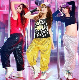 Wholesale Dancing Practice Wear - FREE SHIPPING Nightclub Hip-Hop Jazz Loose Wide Leg Practice Sequined Trousers Party Dance DS Costumes Stage Wear Apparel, 3-color