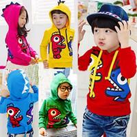 çocuklar dinozor sweatshirt toptan satış-Çocuklar Için Hoodies Karikatür Boys Için Yeni Sonbahar ve Kış Dinozor Tişörtü Kızlar Hoodie Çocuklar Ceketler Mont