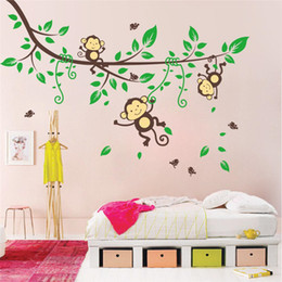 Wholesale Monkey Tree Decal - Free Shipping Naughty Monkey Hanging On the Tree Branch and Green Leaves Wall Decor Sticker, Cartoon Decals for Kids Playroom