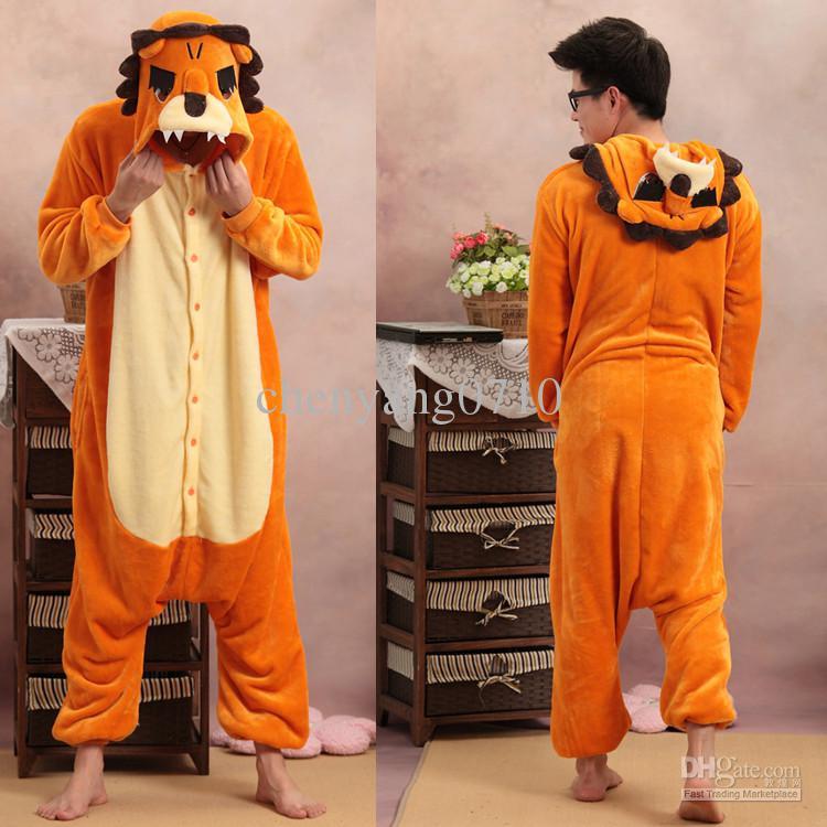 Tecknade djur lejon vuxna onesiese pyjamas kigurumi jumpsuit hoodies Sleepwear för vuxna välkomna grossistorder