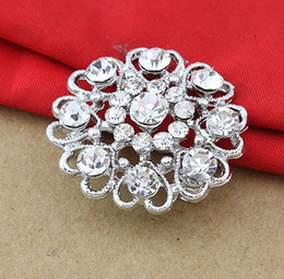 Wholesale Small Brooches Pearls - Wholesale Sparkly Silver Tone Lovely Heart Flower Metal Crystal Diamante Small Brooch