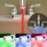 Wholesale Shower Faucet Light - 3 Color Water Glow LED Faucet Stream Light Temperature Sensor Safety Environmental Protection Shower ZAM