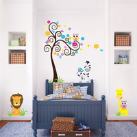 Wholesale Jungle Animal Removable Wall Stickers - Free Shipping Jungle Adventure Animals Cartoon Wall Decals, Diy Removable Wall Sticker for children