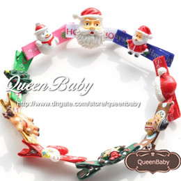 Wholesale Gingerbread Man Wholesale - Christmas Santa Claus Gingerbread Man Snowman Hair Clip with holiday charm resin button 300PCS lot QueenBaby