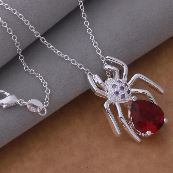 925 Sterling Silver Plated Fashion Women Spider Pendant Necklace Chain Jewelry