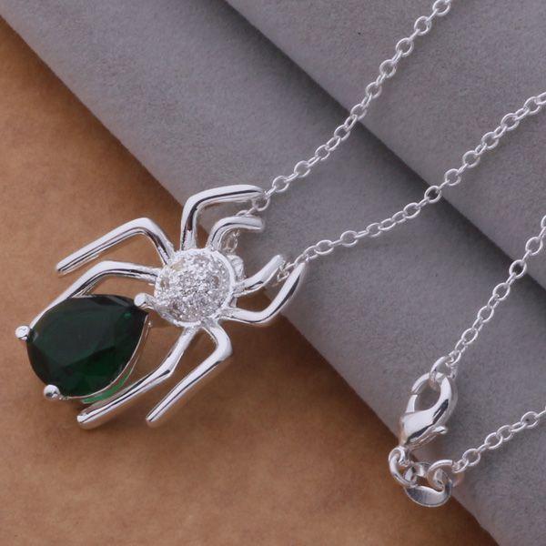 Hohe Qualität 925 Silber vergoldet österreichischen Kristall Spinne Anhänger Halskette Modeschmuck Weihnachtsfeier seine Freundin / Frau Geschenke zu senden
