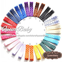 Wholesale Hair Prong Wholesale - Polka DOT Hair Clip RIBBON COVERED Single Prong Alligator Clip Baby Girl Hair clip 100pcs LOT QueenBaby Trail Order