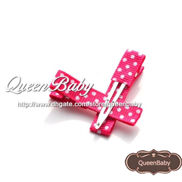 Polka DOT Hair Clip RIBBON COVERED Single Prong Alligator Clip Baby Girl Hair clip QueenBaby Trail Order