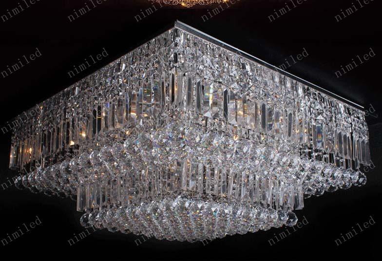 Nimi144 L60 / 70 / 80cm Modern kristall fyrkantig tak ljuskrona lampa ljus belysning transparenta vattendroppar för vardagsrum sovrum