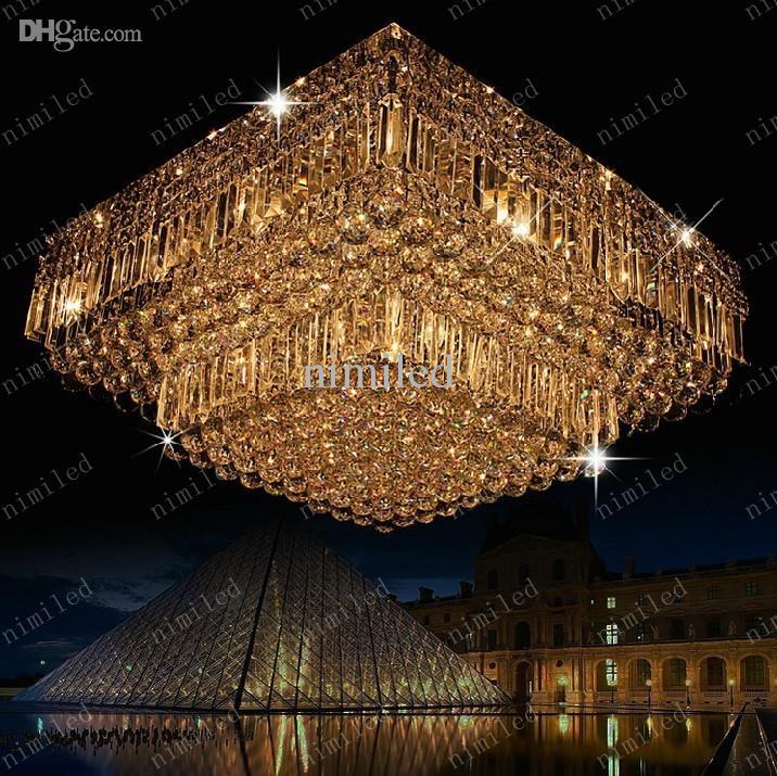 nimi144 L60/70/80cm Modern Crystal Square Ceiling Chandelier Lamp Light Lighting Transparent Water Droplets For Living Room Bedroom