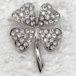 $enCountryForm.capitalKeyWord Canada - 12pcs lot Wholesale Crystal Rhinestone Most popular Clover Brooches Fashion Costume Pin Brooch Jewelry gift C821