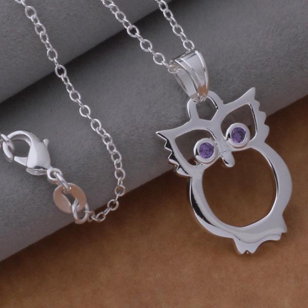 Ordre mixte haute qualité 925 plaqué argent strass cristal chouette pendentif collier de mode bijoux de fête cadeau de noël /