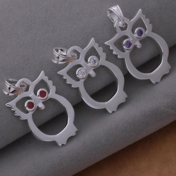 Ordre mixte haute qualité 925 plaqué argent strass cristal chouette pendentif collier de mode bijoux de fête cadeau de noël 12pcs / lot
