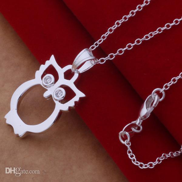 La orden mezclada de la alta calidad 925 plateó el cristalino del búho del rhinestone colgante del collar de la joyería del partido de la manera regalo de la Navidad /