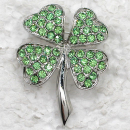 Wholesale Green Plant Costumes - 12pcs lot Wholesale Crystal Rhinestone Most popular Clover Brooches Costume Pin Brooch Gift Jewelry C821