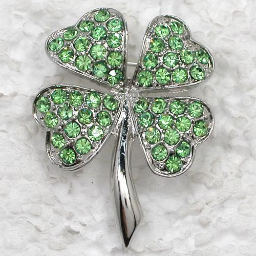 12pcs/lot Wholesale Crystal Rhinestone Most popular Clover Brooches Costume Pin Brooch Gift Jewelry C821