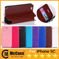 Wholesale Iphone5c Luxury - High Quality Luxury Crazy Horse Pattern Pu Leather Stand Flip Cover Case Cases With Card Slot For Iphone 5C Iphone5C Colorful 100pcs