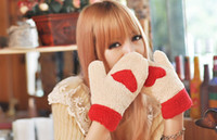 Wholesale Thermal Fingers Gloves Female - Fingerless glove Winter thermal thickening plush gloves of love female thermal full finger gloves sweet 6 mittens and gloves Christmas gift
