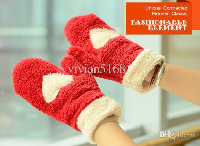 フィンガーレスグローブの冬の熱肥厚の豪華な手袋の豪華な手袋甘い6つのミトンと手袋クリスマスプレゼント
