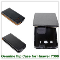 Wholesale Huawei U8833 Case - 1PCS Black Genuine Leather Flip Vertical Back Smart Cover Case for Huawei Ascend Y300 U8833 T8833 High Quality Free Shipping