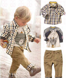 Wholesale Sets Boy Retail - Free Shipping! new spring baby clothes set cool boy 3 pcs suits t-shirt+shirt+pants children garment Wholesale And Retail