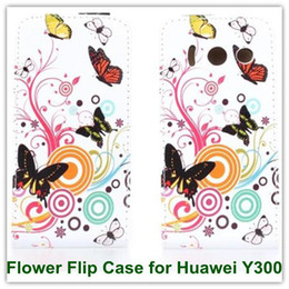 Wholesale Huawei U8833 Case - 1PCS Printed Flower Butterfly Back Leather Flip Cover Case for Huawei Ascend Y300 Y300c U8833 T8833 Free Shipping