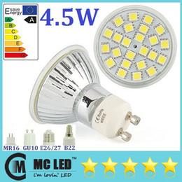 Wholesale Mr16 Lighting Angle - Energy Saving 4.5W Led GU10 Bulb Lights 120 Angle 300 Lumens 24pcs 5050 SMD Warm Pure White E27 E14 MR16 Led Spotlights 185-265V