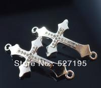 Wholesale Rhinestone Crystal Cross Bracelet Connector - silver plated Crystal Rhinestones Sideways cross Connector beads making Bracelet Findings For DIY Jewelry