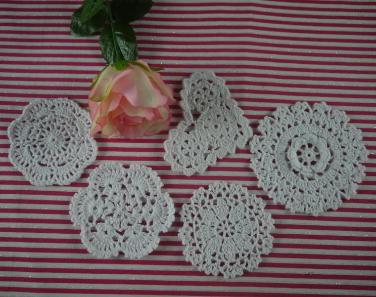 Handmade Crochet patternVintage placemats cup Pad mats Doily 5Style Coasters 10-12cm, EMS Wholesale