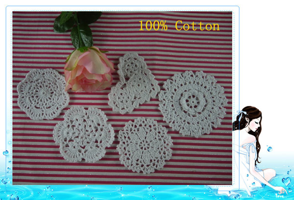 Handmade Crochet patternVintage placemats cup Pad mats Doily 5Style Coasters 10-12cm, EMS Free Shipping Wholesale 750Piece
