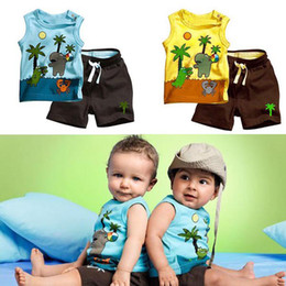 Wholesale Toddler Boys Sleeveless Vests - Summer Toddler Baby Boys Coconut Tree Printed Sleeveless Vest T-Shirt Top + Short Pants 2Pcs Set Children Leisure Sport Suits Kids Outfits
