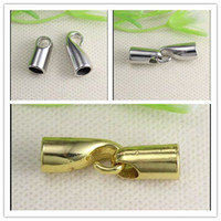 Wholesale Crimps For Jewelry - 100PCS Antique Silver Gold Tone CRIMP CORD END CAP HOOK   End Cap Clasp HOOK CLASP For 5mm Leather CORD jewelry findings