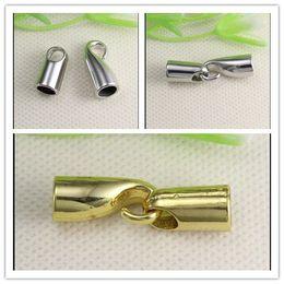 Wholesale Crimp Clasps - 100PCS Antique Silver Gold Tone CRIMP CORD END CAP HOOK   End Cap Clasp HOOK CLASP For 5mm Leather CORD jewelry findings