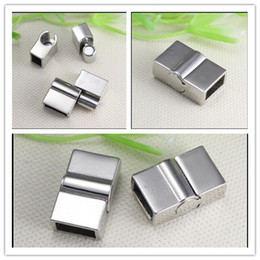 Wholesale Copper Clasp Magnetic - 20PCS Antique Silver Tone Square shape Magnetic Clasps for making Leather Bracelet jewelry findings