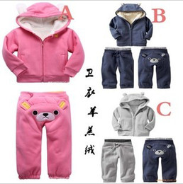 Wholesale Pp Sport Coat - 4Set Winter Baby Boys Girls Winnie Heavy Fleece Hooded Coat Jacket+PP Pants 2Pcs Set Children Thickening Leisure Sports Suit Kids Outfits