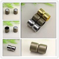 bronz manyetik toptan satış-30 ADET Antik gümüş Antik Bronz Altın Sesi Güçlü Sonu Deri Bilezik takı bulguları yapmak için Manyetik Klipsler Caps