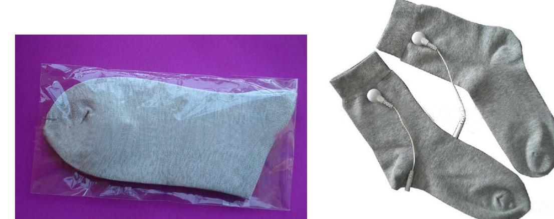 WHITE SILVER FIBER CONDUCTIVE SOCKS FOR EMS/TENS MASSAGE MACHINE WITH CABLE FREE-SHIPPING