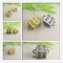 Wholesale Wholesale Magnetic Clasps For Jewelry - 30PCS Cube Crystal Rhinestones Strong Cubic Magnetic Clasps for making Leather Bracelet jewelry findings