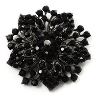 Wholesale Large Pearl Brooch - Black Plated Black Rhinestone Crystal Diamante Large Starfish Flower Bouquet Brooch Pins