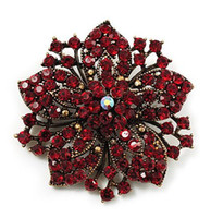 "Wholesale Antique Brooch Pearls - Antique Gold Plated Dark Red Rhinestone Crystal Diamante 2.2"" Flower Brooch for Wedding"