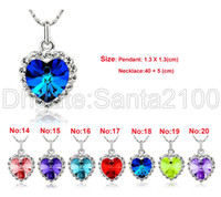 Wholesale ocean love - 5pcs Women's Titanic Star Ocean Necklaces Pendants Fashion Jewelry Rhinestone Blue Heart of the Ocean 7 Colors